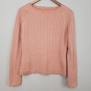 Coral Pink Crew Neck Cable Knit Sweater Size Small